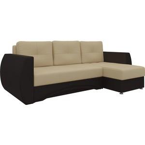Диван угловой АртМебель Сатурн эко-кожа бежево-коричн правый кресло echair 634 tr рец кожа коричн 470982 шатура oфисные кресла
