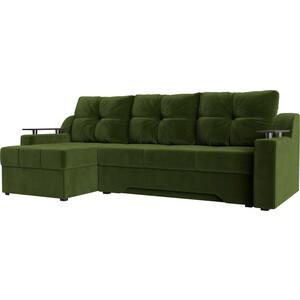 Купить диван угловой АртМебель Сенатор НПБ микровельвет зеленый левый (671780) в Москве, в Спб и в России