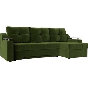 Купить диван угловой АртМебель Сенатор НПБ микровельвет зеленый правый (671781) в Москве, в Спб и в России
