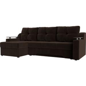 Купить диван угловой АртМебель Сенатор НПБ микровельвет коричневый левый (671784) в Москве, в Спб и в России