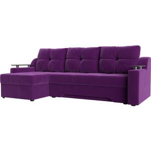 Диван угловой АртМебель Сенатор микровельвет фиолетовый левый угловой диван артмебель андора ткань левый