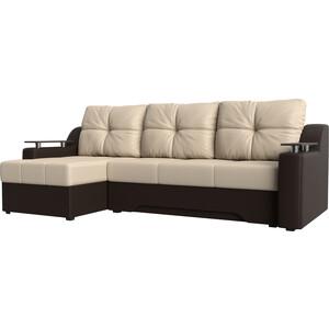 Купить диван угловой АртМебель Сенатор НПБ эко-кожа бежево-коричн левый (671798) в Москве, в Спб и в России