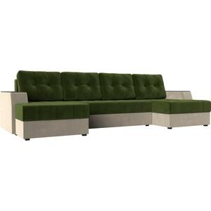 Диван угловой АртМебель Эмир-П микровельвет зелено-бежевый угловой п образный диван aria