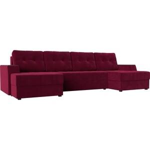 Диван угловой АртМебель Эмир-П микровельвет красный диван п образный угловой aria