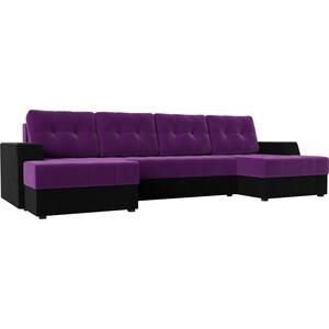 Диван угловой АртМебель Эмир-П микровельвет фиолетово-черн угловой диван артмебель андора ткань правый
