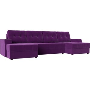 Диван угловой АртМебель Эмир-П микровельвет фиолетовый угловой диван артмебель андора ткань правый