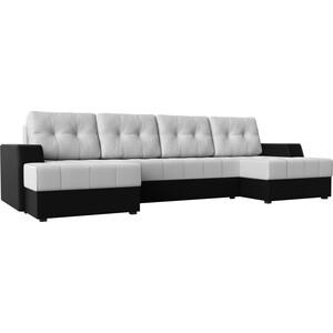 Диван угловой АртМебель Эмир-П эко-кожа бело-черный угловой диван артмебель андора ткань правый
