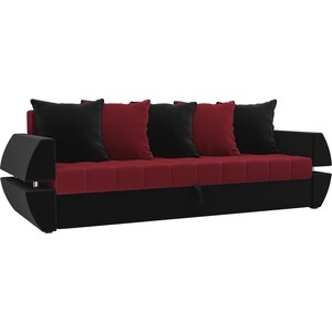 Диван-еврокнижка АртМебель Атлант Т микровельвет красно-черный диван еврокнижка артмебель атлант т микровельвет черно фиолетов