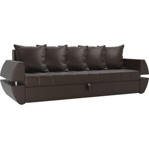 Диван-еврокнижка АртМебель Атлант Т эко-кожа коричневый диван еврокнижка атлант рогожка