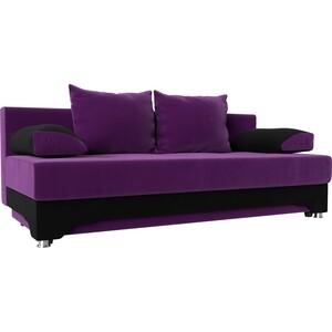 Диван-еврокнижка АртМебель Ник-2 микровельвет фиолетово-черн цены онлайн