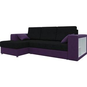 Диван угловой АртМебель Атлантис микровельвет черно-фиолетов левый угловой диван артмебель андора ткань левый
