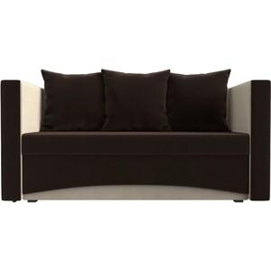 Кушетка АртМебель Принц микровельвет коричнево-бежев правый кресла и кушетки