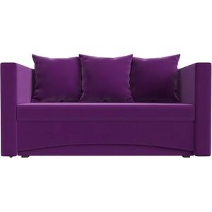 Кушетка АртМебель Принц микровельвет фиолетовый правый