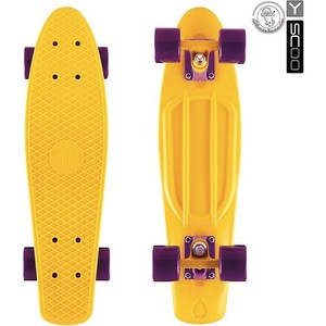 RT 401-Y Скейтборд Fishskateboard 22 винил 56,6х15 с сумкой YELLOW/dark purple rt 402 pr скейтборд big fishskateboard 27 винил 68 6х19 с сумкой purple green