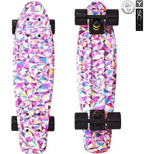 RT 401G-R Скейтборд Fishskateboard Print 22 винил 56,6х15 с сумкой Rhombus color block rhombus embossing pu leather jacket