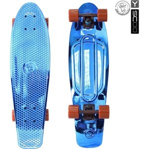 RT 402H-Bl Скейтборд Big Fishskateboard metallic 27 винил 68,6х19 с сумкой BLUE/brown скейтборд 8 колес