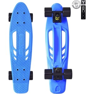 RT 405-B Скейтборд Skateboard Fishbone с ручкой 22 винил 56,6х15 с сумкой BLUE/black скейтборд 8 колес