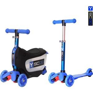 Y-Scoo Каталка-самокат 3 в 1 Mini Jump&Go dark blue со светящимися колесами