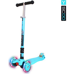 Самокат 3-х колесный Y-Scoo 35 MAXI FIX Shine aqua со светящимися колесами самокат детский трехколесный 1 toy фиксики со светящимися колесами цвет голубой т58463