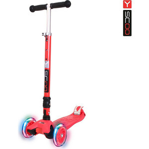 Самокат 3-х колесный Y-Scoo 35 MAXI FIX Shine red со светящимися колесами самокат детский трехколесный 1 toy фиксики со светящимися колесами цвет голубой т58463