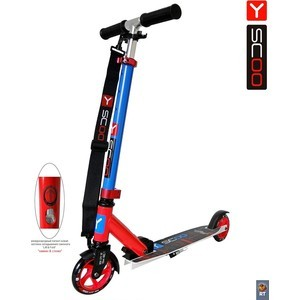 Самокат 2-х колесный Y-Scoo RT mini city 125 Montreal red+blue самокат 3 х колесный y scoo mini glam rt light blue