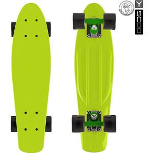 Y-Scoo 401-L Скейтборд Fishskateboard 22'' винил 56,6х15 с сумкой LIME/black