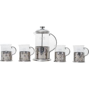 Набор чайник заварочный 0.6 л и 4 стакана 0.2 л Gipfel Galaxy (7078)