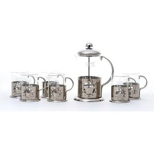 Набор чайник заварочный 0.6 л и 6 стаканов 0.2 л Gipfel Galaxy (7079)