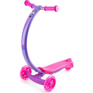 Самокат 3-х колесный Zycom с изогнутой ручкой и светящимися колесами Zipster фиолетово-розовый (1149140/цв 1149146) zycom zycom самокат детский трехколесный zing mini зелено розовый