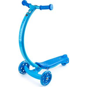 Самокат 3-х колесный Zycom с изогнутой ручкой и светящимися колесами Zipster синий (1149140/цв 1149153) самокат zycom zipster котенок