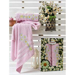 Набор из 2 полотенец Juanna Papatya махра (50х90/70х140) (9188 розовый) набор из 3 полотенец merzuka sakura 50х90 2 70х140 8432 терракотовый