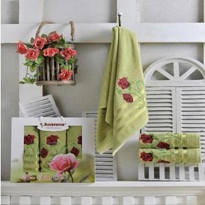 где купить  Набор из 3 полотенец Juanna Gul махра (50х90-2/70х140-1) (9191 зелёный)  по лучшей цене