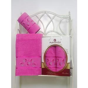 Набор из 2 полотенец Merzuka Prestij махра (50х90/70х140) (8981 тёмно-розовый) набор из 3 полотенец merzuka sakura 50х90 2 70х140 8432 розовый