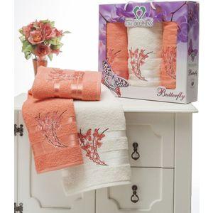 Набор из 3 полотенец Two dolphins Butterfly махра с вышивкой (50х90-2/70х140-1) (8477 персиковый) набор из 3 полотенец merzuka sakura 50х90 2 70х140 8432 оранжевый
