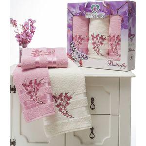 Набор из 3 полотенец Two dolphins Butterfly махра с вышивкой (50х90-2/70х140-1) (8477 розовый) набор из 3 полотенец merzuka sakura 50х90 2 70х140 8432 оранжевый