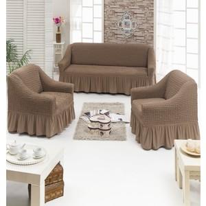 Набор чехлов для мягкой мебели 3 предмета Juanna (7565 серо-коричневый)
