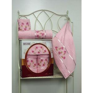 Набор из 3 полотенец Merzuka Prestij махра (30х50-1/50х90-1/70х140-1) (8427 розовый) набор из 3 полотенец merzuka sakura 50х90 2 70х140 8432 оранжевый
