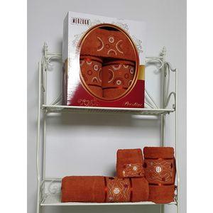 Набор из 3 полотенец Merzuka Prestij махра (30х50-1/50х90-1/70х140-1) (8427 терракотовый) набор из 3 полотенец merzuka sakura 50х90 2 70х140 8432 оранжевый