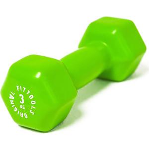 Гантель Original Fit.Tools в виниловой оболочке 3 кг (Цвет - зеленый) FT-VWB-3