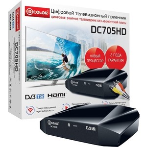 Тюнер DVB-T2 D-Color DC705HD tv тюнер d color dc1302hd