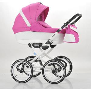 Коляска Mr Sandman Voyage Premium (50пр кожа) Белый Перфорированный - Розовый в Принт (KMSVP50-0700CH01) коляска mr sandman voyage premium люлька 50пр кожа персиковый перфорированный серый kmsvp50 0699ch09