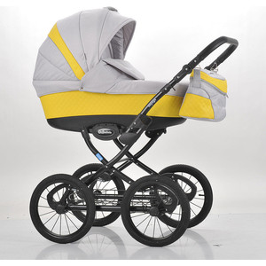 Коляска Mr Sandman Voyage Premium (50пр кожа) Желтый Перфорированный - Светло-Серый (KMSVP50-0700CH08) коляска mr sandman voyage premium люлька 50пр кожа персиковый перфорированный серый kmsvp50 0699ch09