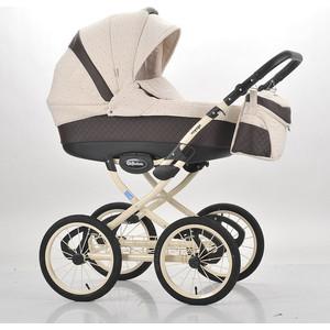 Коляска Mr Sandman Voyage Premium (50пр кожа) Коричневый Перфорированный - Бежевый в Принт (KMSVP50-0700CH13) коляска mr sandman voyage premium люлька 50пр кожа персиковый перфорированный серый kmsvp50 0699ch09