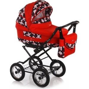Коляска классическая Jetem Santa с надувными колесами (SA) 02, красный/принт