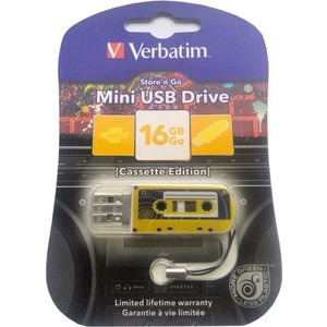 Флеш-диск Verbatim 16Gb Mini Cassette Edition Yellow (49399) флеш диск verbatim 32gb mini tattoo edition dragon 49899