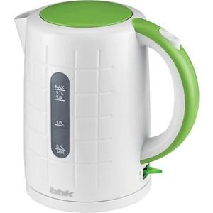Чайник электрический BBK EK1703P белый/зеленый чайник bbk ek1703p 2200 вт 1 7 л пластик белый металлик