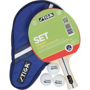 Набор для настольного тенниса Stiga Stream 1* (ракетка, чехол и 3 мяча) набор для настольного тенниса ракетка 2шт мяч 3шт сетка torneo ti bs301