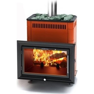 Печь для бани и сауны Термофор Витрувия Inox терракот со встроенным теплообменником