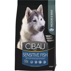 Сухой корм Farmina CIBAU Sensitive Fish Medium & Maxi Breed с рыбой для взрослых собак средних и крупных пород 2,5кг (30955)