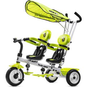 Small Rider Трехколесный велосипед для двоих детей, двойни, погодков Cosmic Zoo Twins, зеленый (220967/цв 223193) cosmic zoo самокат galaxy one светящиеся колеса зеленый 159032 цв 1150359